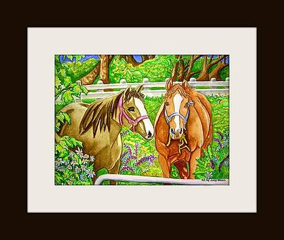 Two Horses in the Front Pasture by Judy Moon