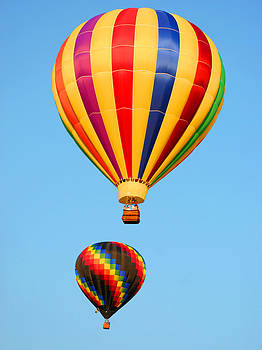 Two Hot Air Balloons Ascending Vertical by Mason Resnick