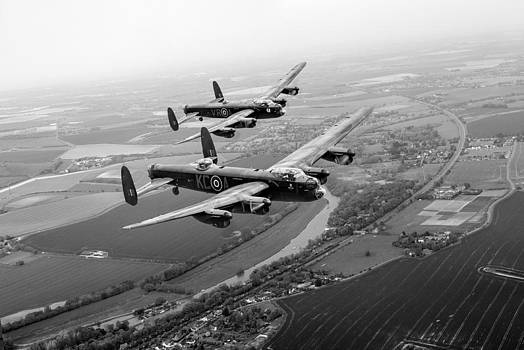 Gary Eason - Two Lancasters over the upper Thames black and white version