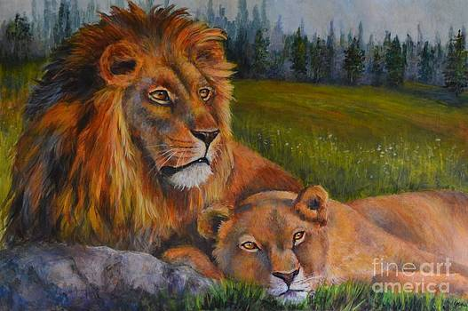 Two Lions by Jana Baker