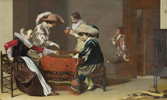 Willem Cornelisz Duyster - Two Men playing Tric-trac with a Woman scoring