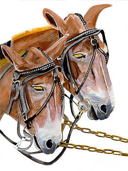 Two Mules - Enhanced Color - Farmer's Friend by Jan Dappen