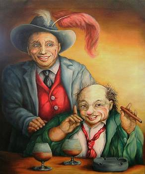 Two Old Clowns by Pamela Humbargar