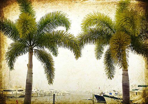 Two Palms Marina Vintage Image Art  by Jo Ann Tomaselli