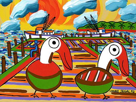 Two Pelicans on the Pier-Cedar Key by Mike Segal