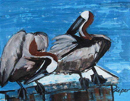 Betty Pieper - Two Pelicans Up Close and Personal
