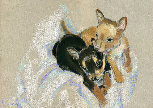 Two Puppies by Lelia Sorokina