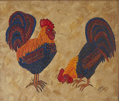 Two Roosters by BJ Hilton Hitchcock