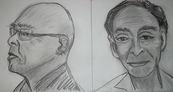 two senior gentlemen Asian faces 6 7 7 by Iris Devadason