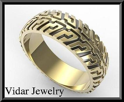 Two Tone Gold Tire Tread Men Wedding Ring  by Roi Avidar