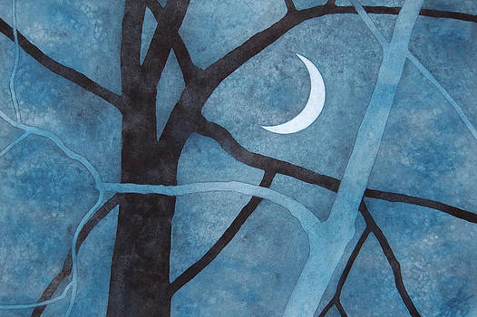 Robin Street-Morris - Two Trees with Waxing Crescent