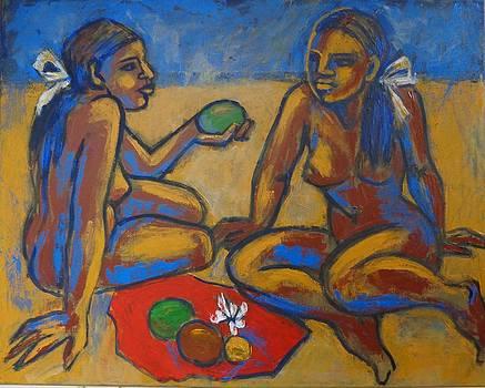 Two Women On The Beach - Female Nude by Carmen Tyrrell