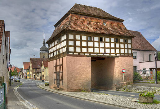 Uehlfeld medieval town gate Franconia Germany by David Davies