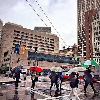 Umbrellas In Downtown by Karen Winokan