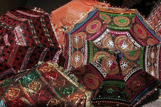 Kathy Peltomaa Lewis - Umbrellas In The Textile Souk
