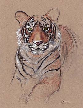 Unfinished Business - Mixed media painting of a Tiger by Rebecca Rees