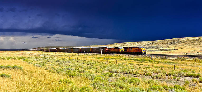 Union Pacific Racing a Thunder Storm by Gej Jones
