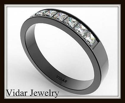 Unique 14k Black Gold Diamond Women Wedding Ring by Roi Avidar