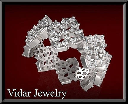 Unique 14k White Gold Diamond Flower Woman Wedding Ring by Roi Avidar