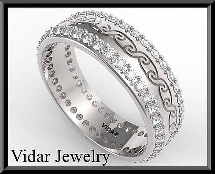 Unique 14k White Gold Diamond Woman Wedding Ring by Roi Avidar