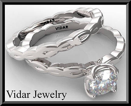 Unique 14k White Gold Round Diamond Wedding Ring And Engagement Ring  by Roi Avidar