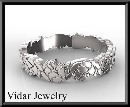 Unique 14kt White Gold Lotus Flower Woman Wedding Ring by Roi Avidar