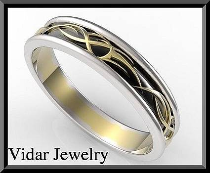 Unique 3 Tone Men Wedding Ring - Black And White And Yellow Gold by Roi Avidar