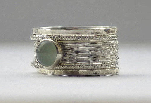 Unique Aquamarine rustic hammered recycled sterling silver stackable wedding ring set  by Nadina Giurgiu