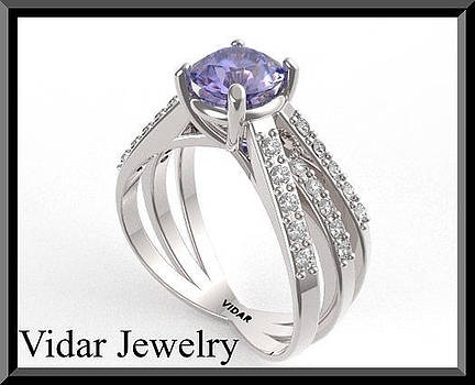 Unique Blue Sapphire And Diamond 14k White Gold Engagement Ring by Roi Avidar