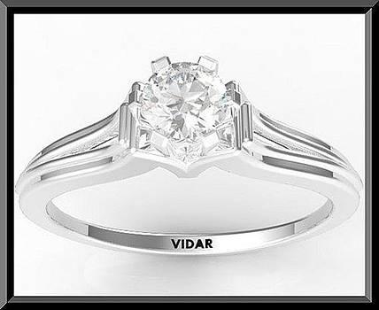 Unique Diamond 14k White Gold Engagement Ring  by Roi Avidar