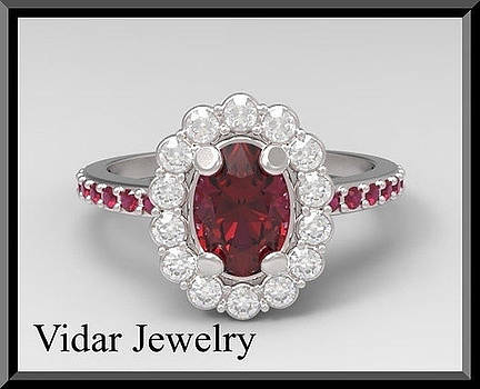 Unique Red Ruby And Diamond 14k White Gold Engagement Ring by Roi Avidar