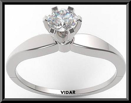 Unique Round Diamond 14k White Gold Engagement Ring  by Roi Avidar