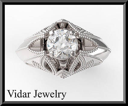 Unique White Gold Topaz Engagement Ring by Roi Avidar