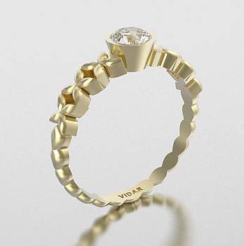 Unique White Sapphire 14K Yellow Gold Flower Engagement Ring by Roi Avidar