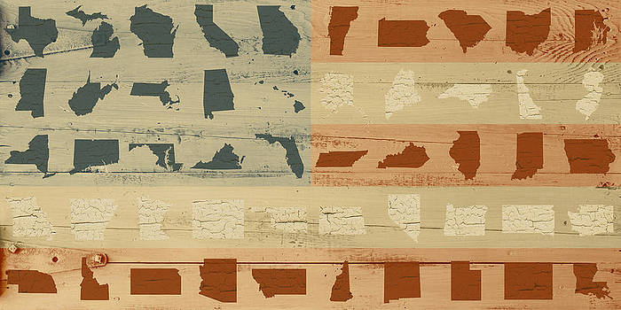 United Shapes of America Painted Flag Wood Art Version Two by Design Turnpike