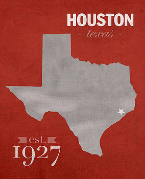 Design Turnpike - University of Houston Cougars Texas College Town State Map Poster Series No 045