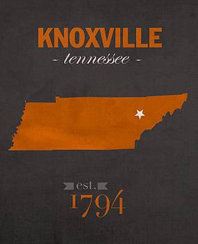 Design Turnpike - University of Tennessee Volunteers Knoxville College Town State Map Poster Series No 104