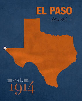 Design Turnpike - University of Texas at El Paso UTEP Miners College Town State Map Poster Series No 110