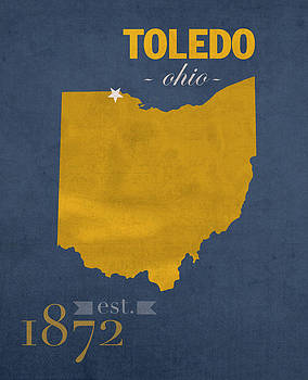 Design Turnpike - University of Toledo Ohio Rockets College Town State Map Poster Series No 112