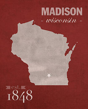 Design Turnpike - University of Wisconsin Badgers Madison WI College Town State Map Poster Series No 127