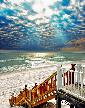 Rosemary Seaside Beach Florida Staircase White Sand Blue Clouds Art by Eszra