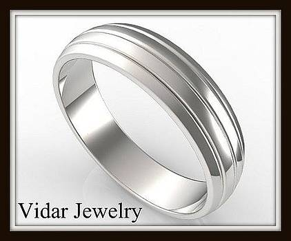 Unusual Classic 14k White Gold Men Wedding Ring by Roi Avidar