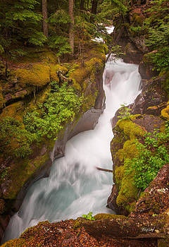 Upper Avalanche Gorge Waterfall by Fred J Lord