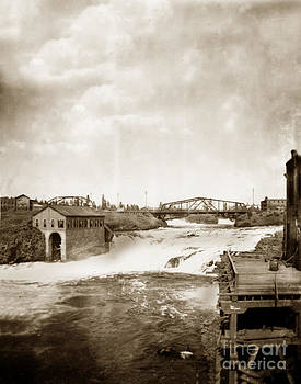California Views Mr Pat Hathaway Archives - Upper Falls with Railroad Bridge Spokan Washington circa 1910
