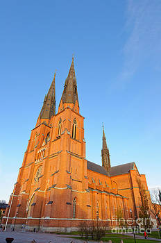 David Hill - Uppsala Cathedral in Sweden - glowing in the evening light