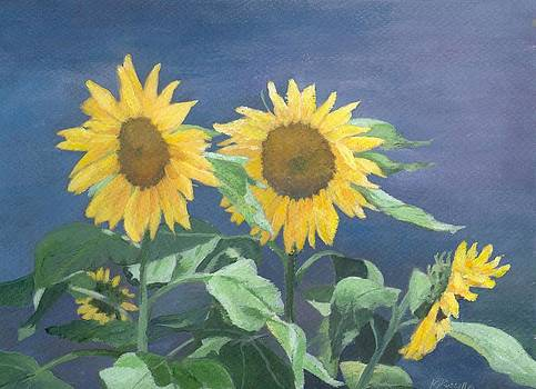 Urban Sunflowers Original Colorful Painting Sunflower Art Decor Sun Flower Artist K Joann Russell    by Elizabeth Sawyer