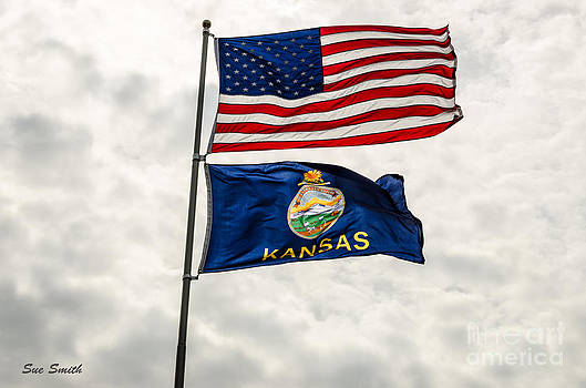 US and Kansas Flags by Sue Smith