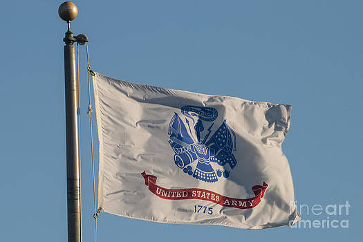 US Army Flag Flying by Lauren Brice