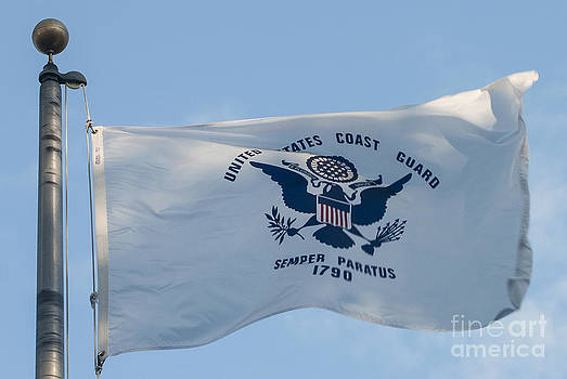 US Coast Guard Flag Flying by Lauren Brice