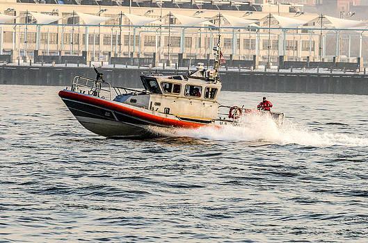 US Coast Guard in NY Harbor near Pier 11 by Maureen E Ritter